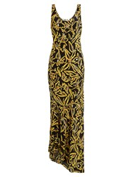 Diane Von Furstenberg Elsden Print Scoop Neck Silk Crepe Dress Black Yellow