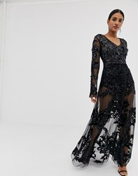 A Star Is Born Allover Embellished Maxi Dress In Black