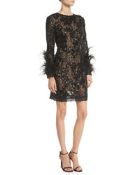Jovani Sequin And Lace Dress W Feather Sleeves Black