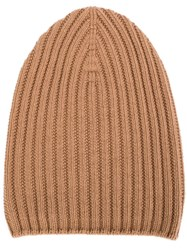 Barrie Ribbed Knit Beanie Brown