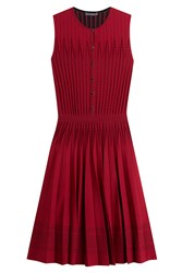 Alexander Mcqueen Pleated Mini Dress With Wool Red