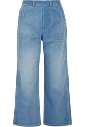 Mih Jeans Cropped Chambray Wide Leg Pants Blue