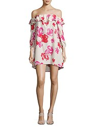 Amanda Uprichard Rose Print Off The Shoulder Dress Pink Multi