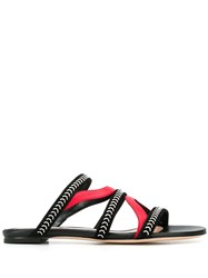 Alexander Mcqueen Suede And Nappa Leather Cage Sandals Black