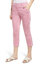 Brax Maron Gingham Stretch Cotton Pants Pink