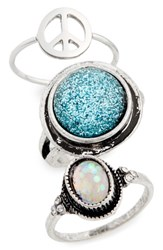Topshop Women's Set Of 3 Peace And Glitter Rings Silver Multi