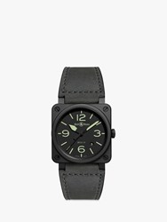 Bell And Ross Br0392 Bl3 Ce Sca 'S Nightlum Automatic Date Leather Strap Watch Grey Black