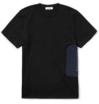 Tim Coppens Shell Panelled Cotton Jersey T Shirt Black