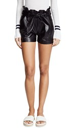 David Lerner Paperbag Waist Belted Shorts Classic Black