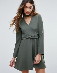 Daisy Street Skater Dress With Choker Neckline And Waist Belt Khaki Green