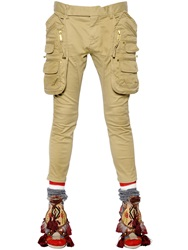 Dsquared Stretch Twill Cotton Cargo Pants Beige
