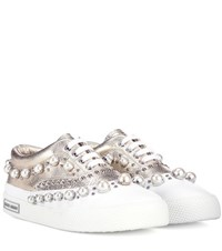 Miu Miu Embellished Leather Sneakers Gold