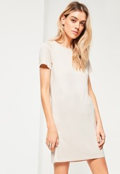 Missguided White Bone Short Sleeve T Shirt Dress Cream