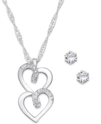 Charter Club Silver Tone Pave Double Heart Pendant Necklace And Crystal Stud Earrings Set Only At Macy's
