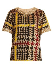 Ashish Short Sleeved Hound's Tooth Sequin Embellished Top Multi