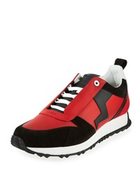 Fendi Men's Suede Paneled Leather Trainer Red