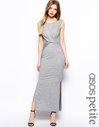 Asos Petite Exclusive Maxi Dress With Wrap Front In Nepi Grey