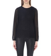 Reiss Villa Floral Lace Blouse Black