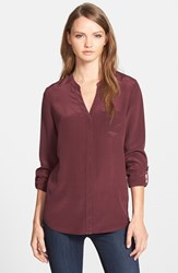 Trouve Women's Trouve Silk Blouse Burgundy Stem