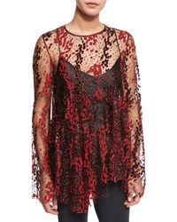 Opening Ceremony Long Sleeve Enamel Glitter Sheer Top Blaze Red