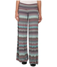 Stetson 9574 Aztec Print Full Leg Knit Pant Blue Women's Casual Pants