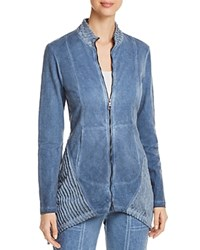 Xcvi Mixed Media Zip Front Jacket Blue Cold Wash