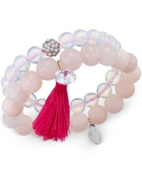 C.A.K.E. By Ali Khan Now And Zen Set Of 2 Pink Beaded Stretch Bracelets