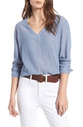 Treasure And Bond Tie Back Shirt Blue Airy Stripe