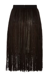 Elie Saab Leather Fringe And Lace Skirt Black