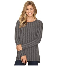 B Collection By Bobeau Alex Rib Knit Tee Shirt Charcoal Grey Women's T Shirt Gray