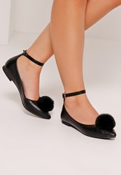 Missguided Pom Pom Pointed Ballerina Shoes Black