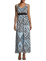Taylor Zig Zag Print Tiered Dress Sky Blue
