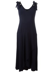 Alberta Ferretti Flared V Neck Dress Blue
