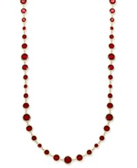 Anne Klein Gold Tone Jet And Glass Stone Long Necklace Red