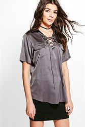 Boohoo Satin Pocket Lace Up Shirt Grey