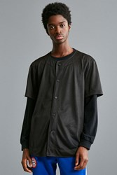 Urban Outfitters Uo Mesh Baseball Jersey Black
