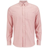 Tripl Stitched Men's Oxford Long Sleeve Shirt Rose Pink