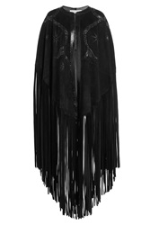 Emilio Pucci Suede Cape With Snakeskin Black