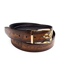 Berluti Reversible Scritto Leather Belt With B Logo Buckle Black Brown