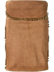 Yves Saint Laurent Vintage Suede Skirt Brown