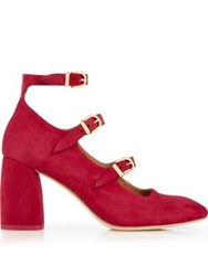 Miista Mary Suede Multi Strap Block Heels Red
