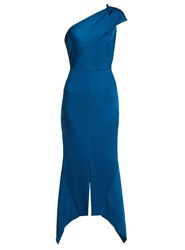 Roland Mouret Harlow One Shoulder Hammered Silk Dress Blue