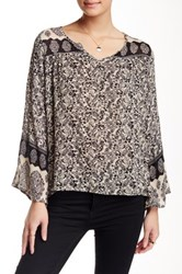 Angie Bell Sleeve Peasant Blouse Brown