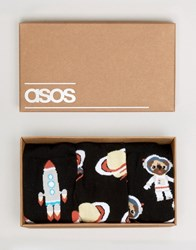 Asos Socks In Gift Box With Space Pug Design 3 Pack Black