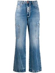 Heron Preston Washed Effect Baggy Jeans Blue