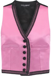 Dolce And Gabbana Embroidered Silk Blend Satin Vest Pink