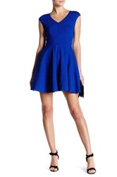 Love Ady V Neck Fit And Flare Dress Blue