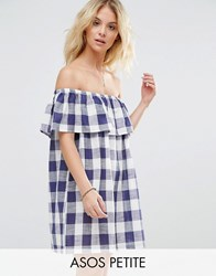 Asos Petite Gingham Off Shoulder Sundress Multi