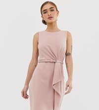 Paper Dolls Petite Frill Detail Midi Pencil Dress With Belt In Pink