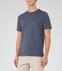 Reiss Preston Mens Stripe Crew Neck T Shirt In Blue